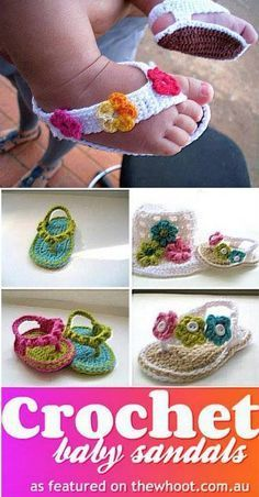 Cutest Crochet Projects - You'll Love These PatternsCrochet Patterns Booties Free crochet patterns for baby shoesThese Crochet Baby Sandals ( Flip Flops, Flower Sandals and striped sandals) are perfect baby gifts for Summer and all patterns are free. Crochet Baby Sandals, Baby Girl Crochet, Crochet Baby Clothes, Crochet Shoes, Crochet Slippers, Cute Crochet, Crochet For Kids, Crochet Crafts, Crochet Projects