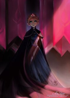 Queen Anna | Dark Frozen by MitsouParker.deviantart.com on @deviantART - AU version based on the premise of Anna's being unable to find Elsa, and therefore being left with no choice but to rule Arendelle (still in its eternal winter) in her stead.