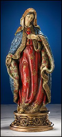 Immaculate Heart of Mary Ornate Brocade Statue
