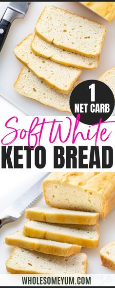 Learn how to make the BEST keto bread recipe! This fluffy, easy white keto friendly bread has just 5 basic ingredients and 1 net carb per slice. #wholesomeyum