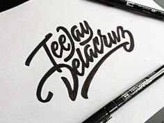 @jdthdelacruz look at this Netherland artist's work using TJ's name!! I know she's the only one that spells it like that! || by Paul von Excite on Behance #logotype #calligraphy #lettering