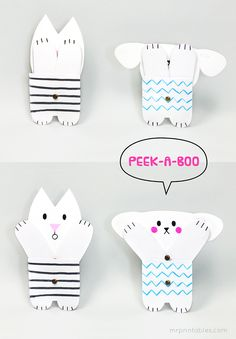FREE printable peekaboo paper toy #free #printable #kids #diy #crafts