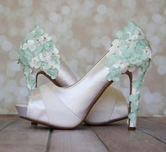Wedding Shoes -- Light Ivory Platform Wedding Shoes with Light Ivory and Mint Green Satin Flowers on the Heel