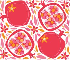 Pom-O-Roma fabric by bzbdesigner on Spoonflower - custom fabric Gorgeous colours and shapes :) Bargello Quilts, Fruit Painting, Tea Packaging, Jewish Art, Posca, Spoonflower Fabric, Fruit Art, Flora, Cool Patterns
