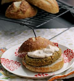 sweet potato chickpea quinoa burgers on homemade pretzel rolls
