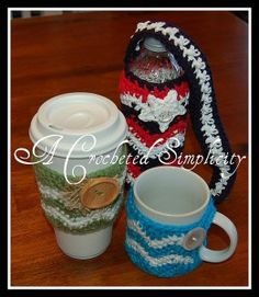 "Free Crochet Pattern - ""Chasing Chevrons"" Coffee & Water Bottle Cozies"
