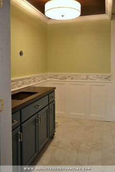 MASTER- wainscotting  customized glass tile   bathroom walls - recessed panel wainscoting with tile accent - 18