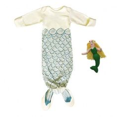 Mermaids! Organic baby gown and rattle.  #kids #baby #gifts #sets