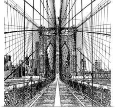 Shelley Lake Solid-Faced Canvas Print Wall Art Print entitled Brooklyn Bridge Sketch, None Framed Artwork, Wall Art Prints, Poster Prints, Canvas Prints, Posters, Ny Map, Vine Design, Brooklyn Bridge, Art Sketches