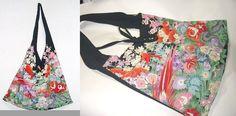 留袖リメイク★ビビットカラーの草花留袖ショルダーバック★ハンドメイド(ML)の画像3枚目