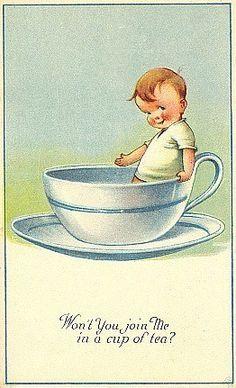 Tea with Charles Twelvetrees  --  Postcard art by Charles Twelvetrees (1888-1948)