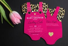 Leopard Print Invitation | Pink Baby Shower Invite | Girl Baby Shower | Glitter invitation | Die Cut shaped | Printed Invitations