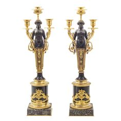 Pair Louis Philippe Bronze & Ormolu Female Figural Caryatid Candelabra - France  c.1840