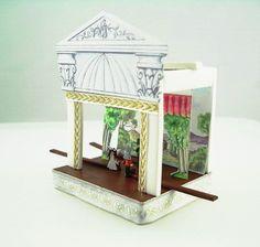 How to make a miniature theatre in polymer clay. http://www.dollshouseandminiaturescene.co.uk