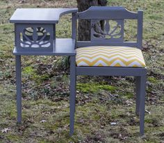 My Grandmother had one of these.....Vintage Telephone Table Gossip Chair by jaxscorner on Etsy, $150.00
