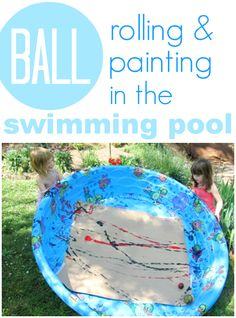 Swimming pool ball painting -- an awesome summer art activity for kids!