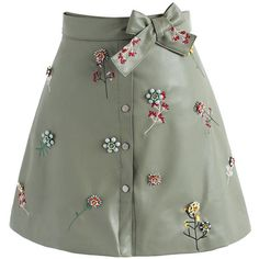 Beads on Floret Faux Leather A-line Skirt in Khaki - New Arrivals - Retro Indie and Unique Fashion Stage Outfits, Skirt Outfits, Casual Outfits, Cute Outfits, Leather A Line Skirt, Faux Leather Skirt, Leather Skirts, Unique Fashion, Womens Fashion