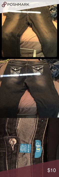Women's Jeans Size 22W DKIN brand jeans. Color: grayish black with faded front thigh area. dkin Jeans Flare & Wide Leg