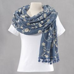 Misty Blue Embroidered Flowers Scarf - Fashion Jewelry, Sterling, Gemstones, Pearls, Earrings, Necklaces, Rings & Bracelets