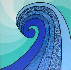 Wave Original Painting by Lorrie Whittington by IllusioCreative, Kraken Art, Beach Quilt, Shadow Art, Sea Waves, Surf Art, Beach Art, Art Plastique, Original Paintings, Wave Paintings