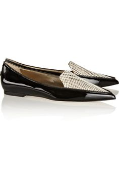 01752faa2191 Jimmy Choo - Guild patent-leather and snake-effect leather point-toe flats