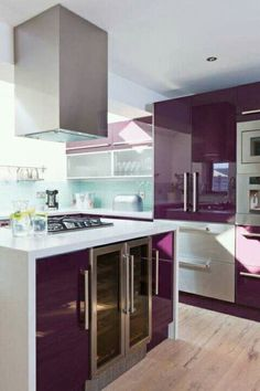 This Purple Kitchen Sings! The Sleek Contemporary Cabinets Couples With The  White Creates A Space That Is Dynamic And Fun! Part 70