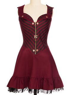 Steampunk corset vest top dress. Steampunk Stripes Vintage Style Dress $82.00 AT vintagedancer.com