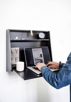 The Wall Desk is inspired by a traditional bureau desk; a piece of furniture that combines work space and storage into a small, sculptural wall hanger. This nifty work station is made to fit any room in your home: A place for the kids to do their homework; the man's spot to keep his watch, phone and gadgets; or a make-up table for jewellery, mirrors and perfumes. The diamond shape is defined by the built-in functions, among these a small storage compartment and access for plugs and cables.