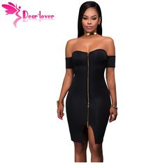 Dear-Lover bodycon dresses 2017 Sexy Party Off Shoulder Black Front Zip and Slit Tight Wrap Dress vestido de festa curto LC22951