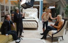 Behind the scenes prep! These interviews and commercials will soon post on smithe.com.  Check them out! #candiceolson #interiordesign #homedecor#walteresmithe #highlandhousefurniture