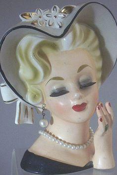 1950 vintage ladies head planters | Vintage Rubens Original Porcelain Glamour Lady Head Vase
