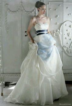 White with dark blue ribbon