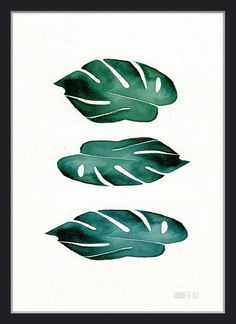Green Monstera Leaves Botanical Watercolor Painting by TheClayPlay