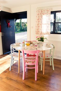 Cath Kidston Inspired Table And Chairs Love The Colours All Put Together A Great