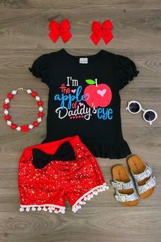 """""""I'm the Apple of Daddy's Eye Sequin"""" Short Set"""