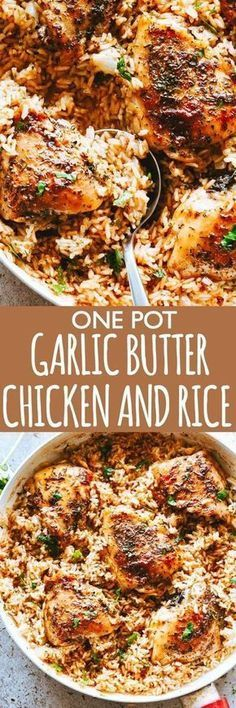 Lovely Garlic Butter Chicken and Rice Recipe – Bursting with rich buttery garlic flavor and tender chicken thighs, this is a one pot chicken and rice dinner guaranteed to impress even the pickiest eaters! The post Garlic Butter Chicken and Rice Recipe . Easy Chicken Thigh Recipes, Chicken Rice Recipes, Healthy Chicken, Garlic Recipes, Chicken Salad, One Pot Meals, Easy Meals, Garlic Butter Chicken, Cooking Recipes