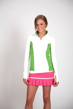 Albion Fit Half Zip Jacket, Green/White. Super cute on!