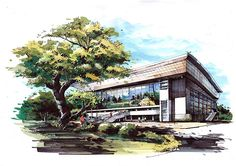 Quick And Easy Landscaping On A Budget - House Garden Landscape Architecture Drawing Sketchbooks, Art Et Architecture, Architecture Concept Drawings, Watercolor Architecture, Landscape Architecture Design, Landscape Sketch, Landscape Drawings, Sketches Arquitectura, Architect Drawing