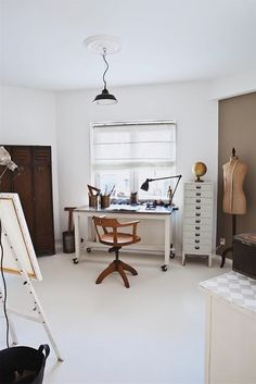 Cool Finds: Home Office Chic. I love how the desk and filing cabinet accent each other so well.