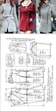 Casaco trench coat gola alta transpassada | DIY - molde, corte e costura - Marlene Mukai