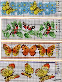 Ricami e schemi a Punto Croce gratuiti: Tante farfalle da ricamare a punto croce