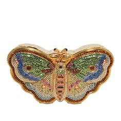 Judith Leiber Swarovski Crystal Butterfly Minaudiere | From a collection of rare vintage evening bags and minaudières at https://www.1stdibs.com/fashion/handbags-purses-bags/evening-bags-minaudieres/