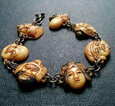 Antique Celluloid Toshikane? 7 Gods Buddha Asian Faces Charm Bracelet Deco 120 in Jewelry & Watches, Vintage & Antique Jewelry, Costume, Designer, Signed, Bracelets | eBay