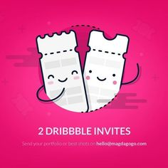 2 dribble invites to give away!! Visit my profile to learn more  #dribbble #invites  #illustration #ticket #dribbblers #dribbbleinvite #cute #icon