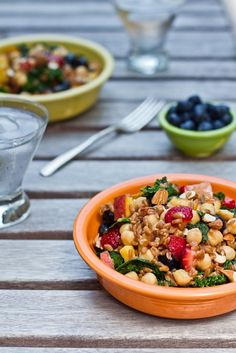 Heat Wave Summer Salad by OhSheGlows. Totally trying this, just recently bought Spring Wheatberries with not a clue of what to make with them & now I do :)