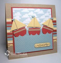 Sailboats - baby card - bjl