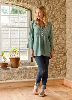 Bellaju - Duck egg embroidered blouse