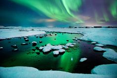 River-light - Iceland - Northern lights - aurora borealis by Olinn Thorisson, via 500px