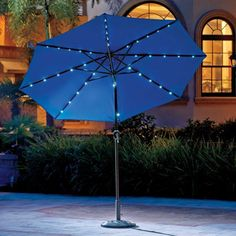 The Solar Lighted Umbrella Has 40 Built In LEDs To Light Up Your Night.  This Lighted Patio Umbrella Is Operated By Solar Power.