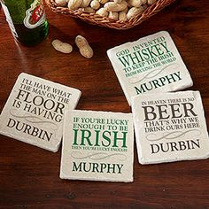 These are so funny! Great gift idea for guys! - Irish Quotes Personalized Tumbled Stone Coaster Set from PersonalizationMall